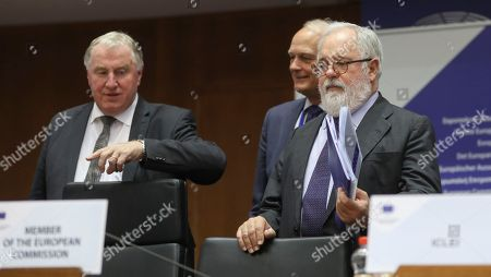 European Committee of the Regions'  President, Belgium's Karl-Heinz Lambertz and   European Commissioner for climate action and energy Miguel Arias Canete  during European Committee of the Regions 130th Plenary Session in the plenary room of the parliament in Brussels, 05 July 2018. Members debate on Climate Change with the European commission and experts.