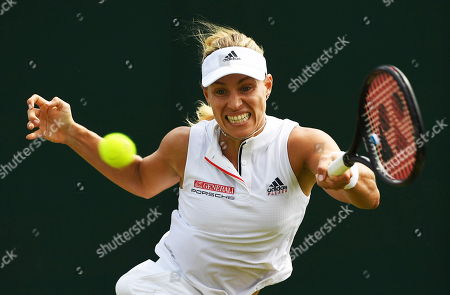 Angelique Kerber of Germany returns to Claire Liu of the United States during their second round match during the Wimbledon Championships at the All England Lawn Tennis Club, in London, Britain, 05 July 2018.
