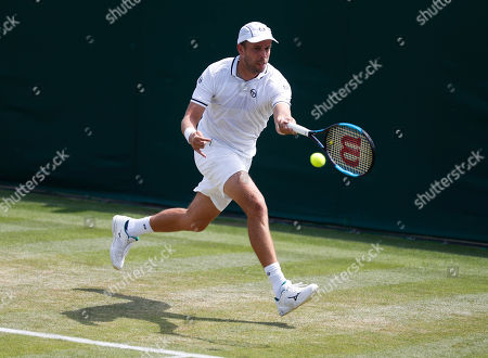 Gilles Muller of Luxembourg returns to Philipp Kohlschreiber of Germany in their second round match during the Wimbledon Championships at the All England Lawn Tennis Club, in London, Britain, 05 July 2018.