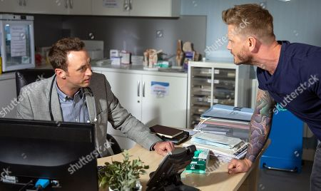 Stock Picture of Ep 8207 & Ep 8208 Thursday 19th July 2018  David Metcalfe, as played by Matthew Wolfenden, is awkward to realise his doctor's appointment is with Maya's husband Dr Cavanagh, as played by Johnny McPherson. The appointment is tense and soon Cavanagh is very unprofessional.