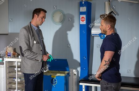 Stock Image of Ep 8207 & Ep 8208 Thursday 19th July 2018  David Metcalfe, as played by Matthew Wolfenden, is awkward to realise his doctor's appointment is with Maya's husband Dr Cavanagh, as played by Johnny McPherson. The appointment is tense and soon Cavanagh is very unprofessional.