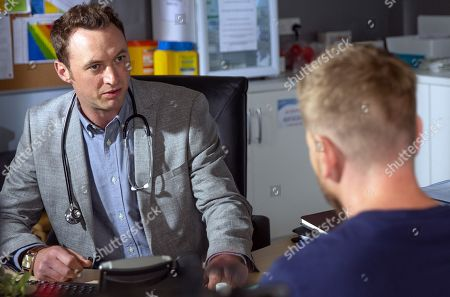 Stock Photo of Ep 8207 & Ep 8208 Thursday 19th July 2018  David Metcalfe, as played by Matthew Wolfenden, is awkward to realise his doctor's appointment is with Maya's husband Dr Cavanagh, as played by Johnny McPherson. The appointment is tense and soon Cavanagh is very unprofessional.
