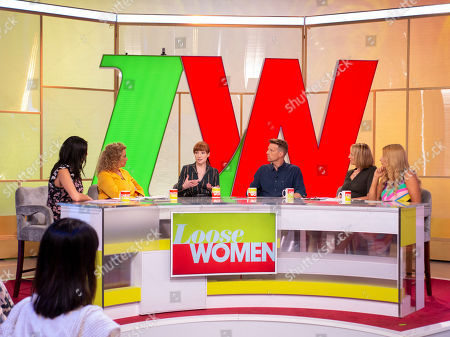 Christine Lampard, Nadia Sawalha, Carol McGiffin and Stacey Solomon with Nicola Roberts and Christopher Harper