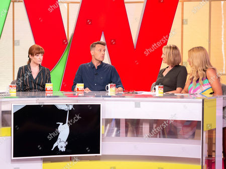 Carol McGiffin and Stacey Solomon with Nicola Roberts and Christopher Harper