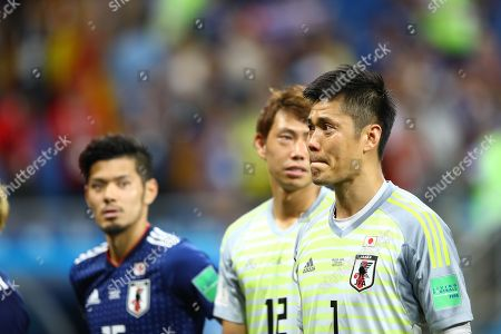 Eiji Kawashima (JPN) bites down on his lip as he acknowledges fans after the FIFA World Cup Russia 2018 Round of 16 match between Belgium 3-2 Japan at Rostov Arena in Rostov-On-Don, Russia,.