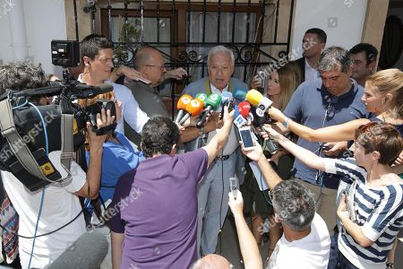 Stock Picture of Candidate to chair the People's Party (PP) and former Foreign Minister Jose Manuel Garcia Margallo (C) talks to the press after casting her vote during the first round of the party's primary elections to choose a new leader at the PP's headquarters in Javea, Spain, 05 July 2018.