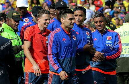 Stock Picture of Colombia's national soccer team players (L-R) Santiago Arias, Radamel Falcao Garcia, Luis Fernando Muriel and Farid Diaz attend a welcoming ceremony after their participation in the FIFA World Cup Russia 2018, at the Campin stadium, in Bogota, Colombia, 05 July 2018. The Colombian team returned to its country after participating in the World Cup, in which they reached the round of 16.