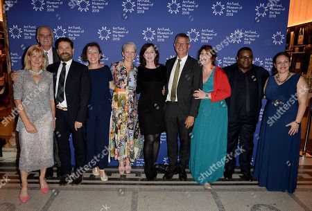 Stock Photo of Andria Zafirakou, Jamie Fobert, Maria Balshaw, Anne Barlow and Mark Osterfield and Isaac Julien with guests