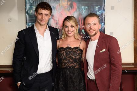 Max Irons, Margot Robbie and Simon Pegg