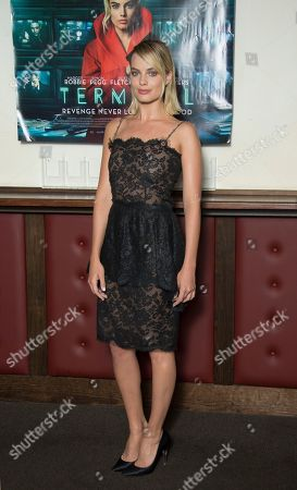 Stock Photo of Margot Robbie poses for photographers upon arrival at the UK premiere of Terminal in central London