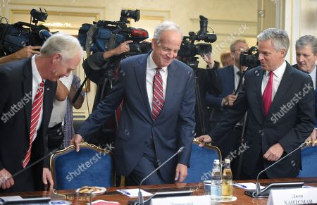 Stock Image of Kansas senator Jerry Moran (center) and ambassador of United States in Russia Jon Huntsman Jr (right) during the meeting.