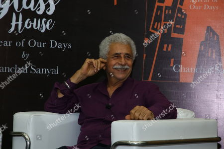 Stock Photo of Bollywood actor Naseeruddin Shah during the book reading event for newly launched book The Glass House: A Year of Our Days by Chanchal Sanyal at IIC on July 2, 2018 in New Delhi, India.