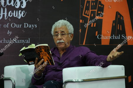 Stock Picture of Bollywood actor Naseeruddin Shah during the book reading event for newly launched book The Glass House: A Year of Our Days by Chanchal Sanyal at IIC on July 2, 2018 in New Delhi, India.