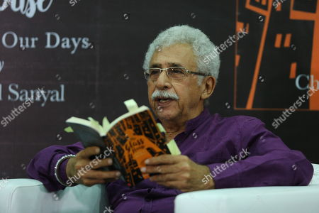 Stock Image of Bollywood actor Naseeruddin Shah during the book reading event for newly launched book The Glass House: A Year of Our Days by Chanchal Sanyal at IIC on July 2, 2018 in New Delhi, India.