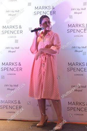 Bollywood actress Huma Qureshi talks to media during inauguration of a brand outlet at DB Mall, on July 5, 2018 in Bhopal, India.