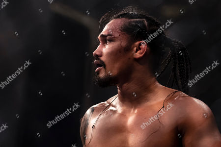 Ray Cooper III looks on after the welterweight fight against Jake Shields at the Charles E. Smith Center at George Washington University in Washington, District of Columbia. Cooper defeated Shields by TKO