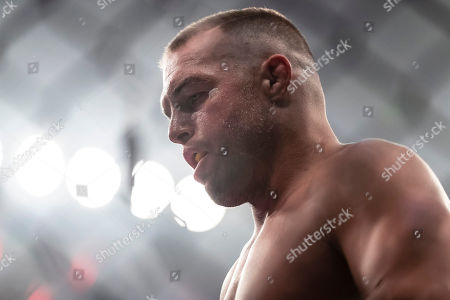 Stock Image of Paul Bradley looks on before a welterweight fight against Joao Zeferino (not pictured) at the Charles E. Smith Center at George Washington University in Washington, District of Columbia