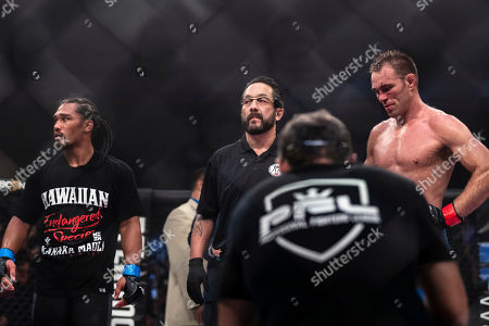 Jake Shields and Ray Cooper III look on after their welterweight fight at the Charles E. Smith Center at George Washington University in Washington, District of Columbia. Cooper defeated Shields by TKO