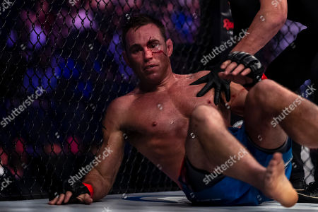 Jake Shields in action during a welterweight fight against Ray Cooper III at the Charles E. Smith Center at George Washington University in Washington, District of Columbia. Cooper defeated Shields by TKO