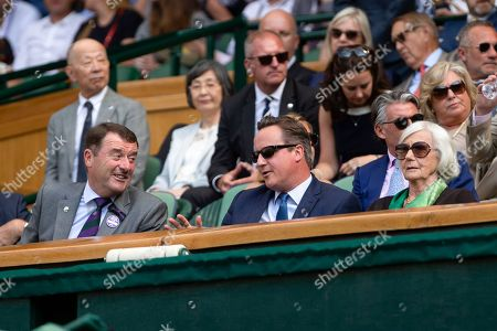 Phillip Brook, AELTC Chairman, David Cameron and mother Mary Cameron in the Royal Box