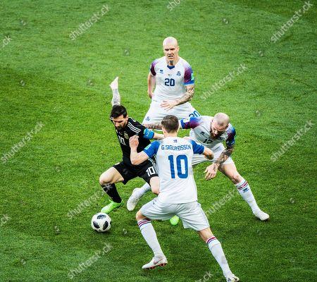Lionel Messi (Argentina), Emil Hallfredsson (Iceland) and Aron Gunnarsson (Iceland), Argentina v Iceland game at the Spartak stadium