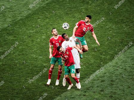 William (Portugal) header - Khaild Boutaib, Mbark Boussoufa and Younes Belhanda (Marokko), Portugal v Morooco, Luschniki stadium