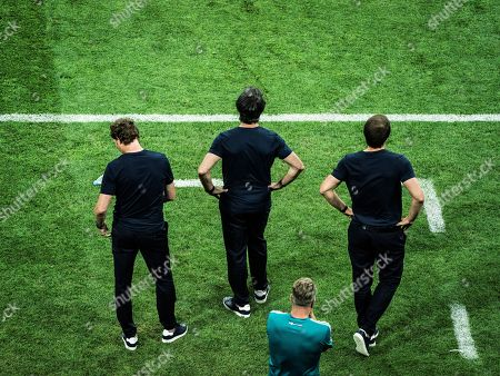 Co-Trainer Oliver Sorg, Trainer Joachim Loew, goalkeeper-Trainer Andreas Koepke and Co-Trainer Thomas Schneider, Germany v Sweden, Fisht stadium, Sochi