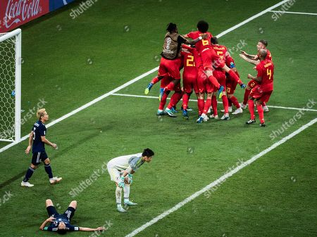 Scorer Nacer Chadli (Belgien) celebrates at 3:2, waehrend Yuto Nagatomo (Japan), Gen Shoji (Japan) and goalkeeper Eiji Kawashima (Japan) dejected during the 2018 FIFA World Cup round of 16 match between Belgium and Japan in Rostov-on-Don, Russia, July 2, 2018. Belgium won 3-2 and advanced to the quarter-final.