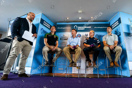 David Flatman hosts the launch of the 2018/19 Gallagher Premiership Rugby Season Fixtures with Northampton Saints Attack Coach Sam Vesty, CEO of Gallagher Michael Rea, Bristol Bears Chief Operating Officer Mark Tainton and Saracens Coach Alex Sanderson