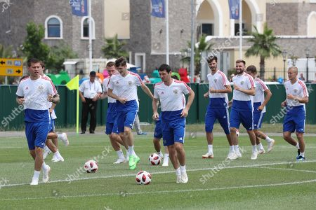 Russian player Alan Dzagoev (C) and teammates during their team's training session in Sochi, Russia, 06 July 2018. Croatia will face Russia in their FIFA World Cup 2018 quarterfinal soccer match on 07 July 2018 in Sochi.