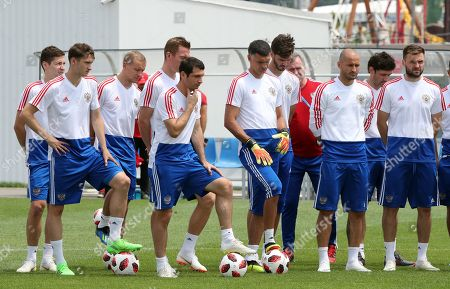 Russian player Alan Dzagoev (center L), goalkeeper Valdimir Gabulov (center R) and teammates during the team's training session in Sochi, Russia, 06 July 2018. Croatia will face Russia in their FIFA World Cup 2018 quarterfinal soccer match on 07 July 2018 in Sochi.