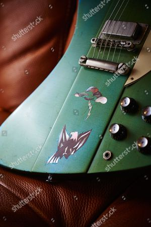 Stock Image of Detail Of A Vintage 1965 Gibson Firebird V Electric Guitar With A Custom Inverness Green Finish