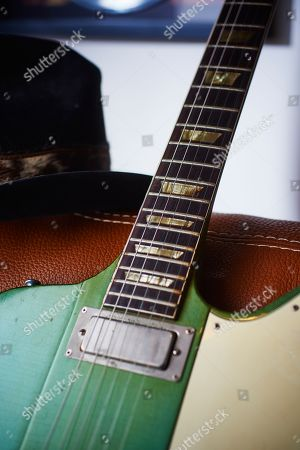Detail Of A Vintage 1965 Gibson Firebird V Electric Guitar With A Custom Inverness Green Finish