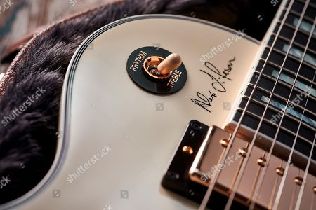 Detail Of The Pickup Selector Switch On A Gibson Alex Lifeson Es-les Paul Electric Guitar With A Classic White Finish