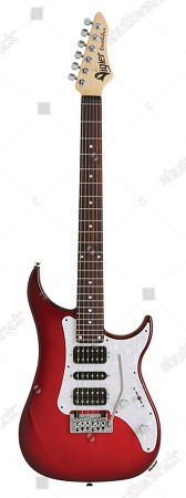 A Vigier Excalibur Supraa Electric Guitar With A Clear Red Finish