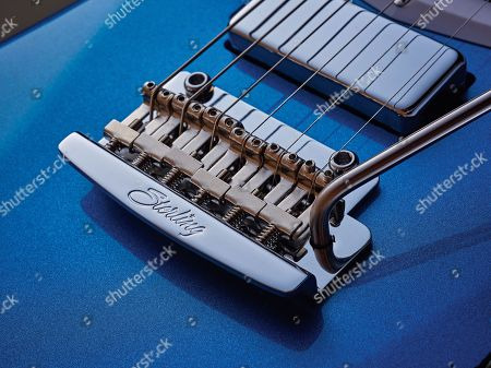 Detail Of The Vibrato On A Sterling By Music Man St Vincent Stv60 Electric Guitar With A Vincent Blue Finish