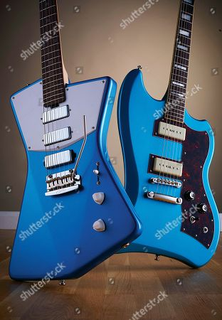 A Sterling By Music Man St Vincent Stv60 Electric Guitar With A Vincent Blue Finish (L) And A Guild T-bird St P90 Electric Guitar With A Pelham Blue Finish