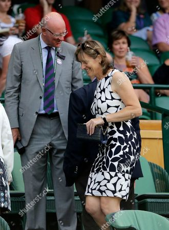 British rower and Olympic medalist Katherine Grainger takes her seat in the Royal Box on Centre Court on the fifth day of the Wimbledon Tennis Championships in London