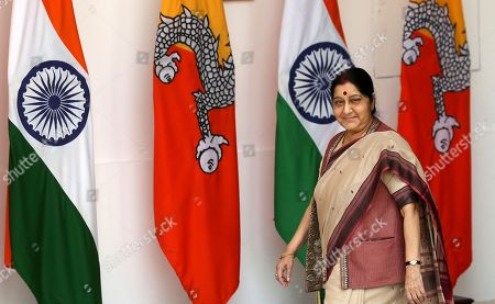 Indian Foreign Minister Sushma Swaraj arrives before a meeting between Indian Prime Minister Narendra Modi and his Bhutan counterpart Tshering Tobgay in New Delhi, India, . Tobgay is on his three-day visit to India