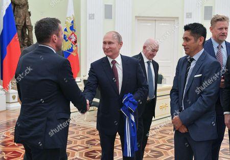 Jorge Campos Navarrete, Vladimir Putin, Nikita Simonyan, Lothar Matthaus and Peter Schmeichel