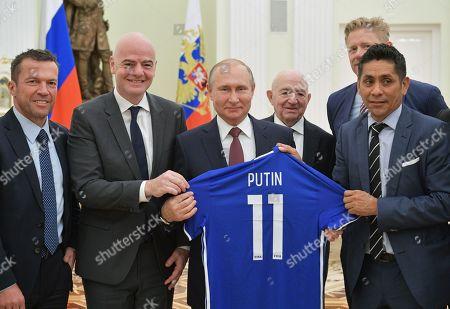 Gianni Infantino, Lothar Matthaus, Jorge Campos Navarrete, Vladimir Putin, Nikita Simonyan and Peter Schmeichel