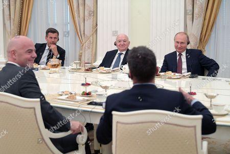 Vladimir Putin, Gianni Infantino, Zvonimir Boban, Nikita Simonyan and Lothar Matthaus