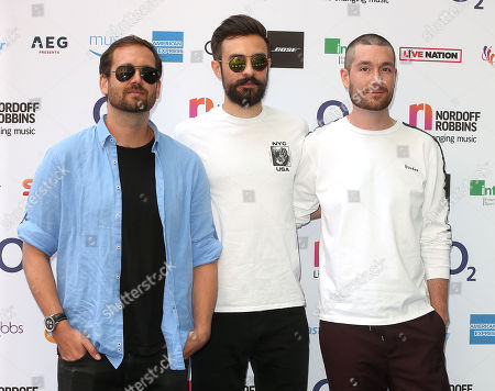 William Farquarson, Dan Smith and Kyle J Simmons of Bastille attends the Nordoff Robbins O2 Silver Clef Awards at the Grosvenor House Hotel, London.