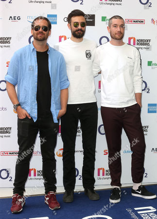 Stock Picture of William Farquarson, Dan Smith and Kyle J Simmons of Bastille attends the Nordoff Robbins O2 Silver Clef Awards at the Grosvenor House Hotel, London.