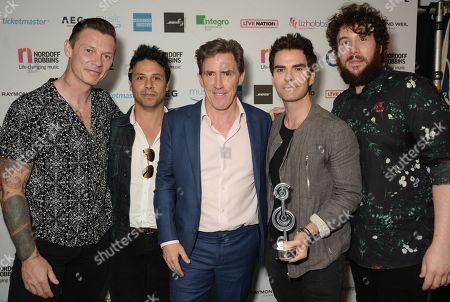 Richard Jones, Adam Zindani, Kelly Jones and Jamie Morrison of Stereophonics - American Express Icon Award with Rob Brydon