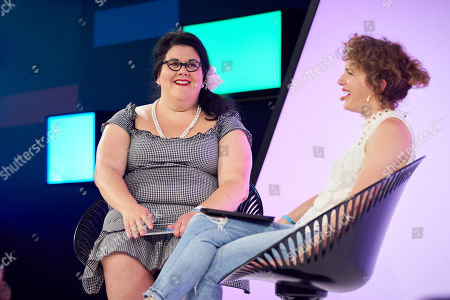 Amy Lame (L) and Annie Mac (R) discuss 'Dark cities: the future of the night' at Futurefest, Tobacco Dock, London.