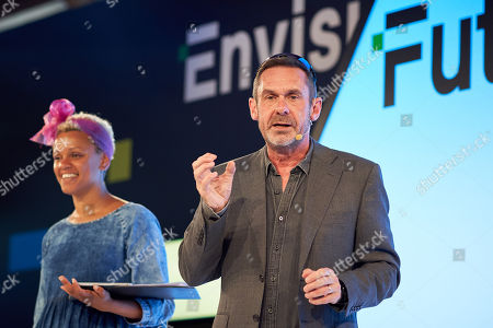 Paul Mason (R) and Gemma Cairney (L) discusses 'Resisting machine control' at Futurefest, Tobacco Dock, London.