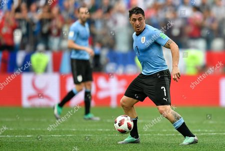Uruguay's Cristian Rodriguez controls the ball during the quarterfinal match between Uruguay and France at the 2018 soccer World Cup in the Nizhny Novgorod Stadium, in Nizhny Novgorod, Russia