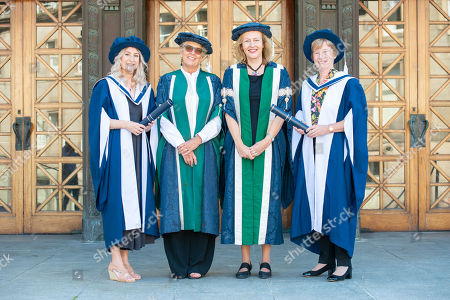 Alice Thompson, Prue Leith, Professor Petra Wend, Principal of Queen, Ann Southwood