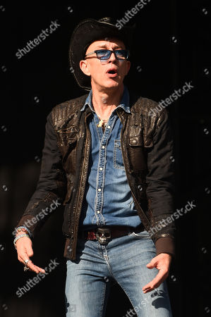 Stock Photo of Rob Spragg of Alabama 3 performs on the main stage on day 4 of the TRNSMT Festival